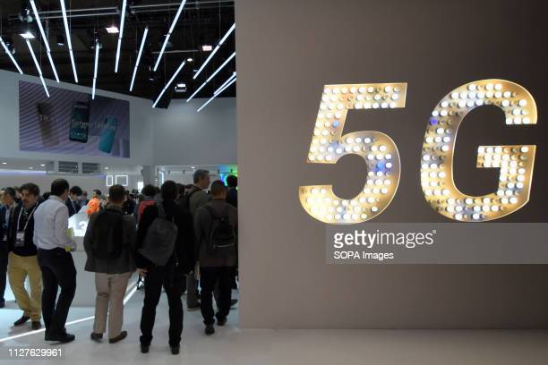 L´HOSPITALET CATALONIA SPAIN Xiaomi brand stand where 5G connectivity technology is appreciated at the Mobile World Congress in Barcelona