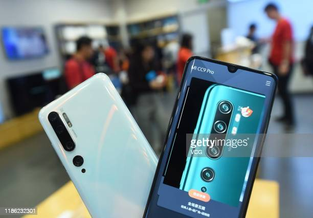 Xiaomi Mi CC9 Pro smartphones are pictured at a store on November 7, 2019 in Hangzhou, Zhejiang Province of China. Xiaomi Mi CC9 Pro smartphone has...