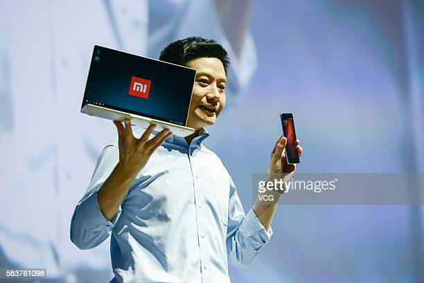 Xiaomi's CEO Lei Jun introduces Mi Notebook Air and Redmi Pro phone on a new products launch event as Xiaomi unveils latest dual-camera wielding...