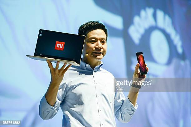 Xiaomi's CEO Lei Jun introduces Mi Notebook Air and Redmi Pro phone on a new products launch event as Xiaomi unveils latest dualcamera wielding Redmi...