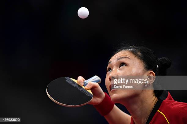 Xiaona Shan of Germany competes in the Womens' Team Table Tennis First Round during day one of the Baku 2015 European Games at Baku Sports Hall on...
