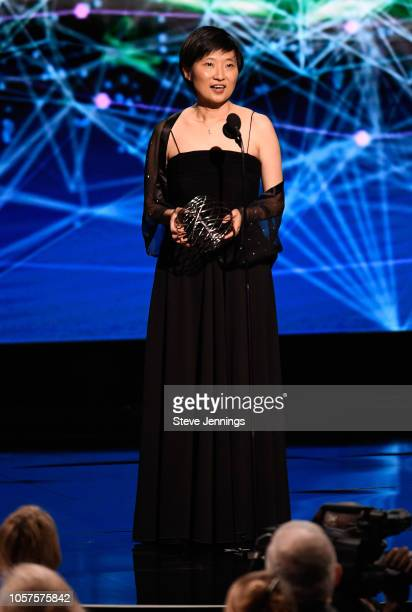Xiaowei Zhuang accepts Breakthrough Prize in Life Sciences award onstage at the 2019 Breakthrough Prize at NASA Ames Research Center on November 4...