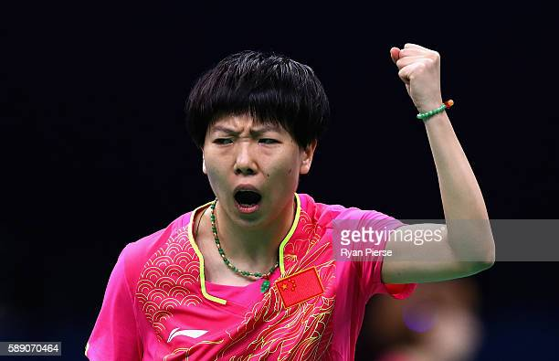 Xiaoxia Li of China celebrates during the Table Tennis Women's Team Quarter Final Match between China and Democratic People's Republic of Korea...
