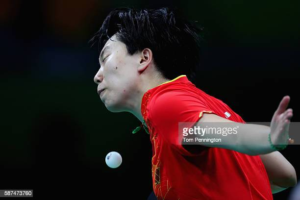 Xiaoxia Li of China competes against Ho Ching Lee of Hong Kong China during Round 4 of the Women's Singles Table Tennis on Day 3 of the Rio 2016...