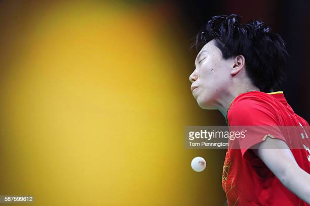 Xiaoxia Li of China competes against IChing Cheng of Chinese Taipei during the Women's Singles Quarterfinal 3 Table Tennis on Day 4 of the Rio 2016...