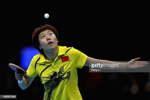 Xiaoxia Li of China competes during the Women's Singles Table Tennis semifinal match against Kasumi Ishikawa of Japan on on Day 4 of the London 2012...
