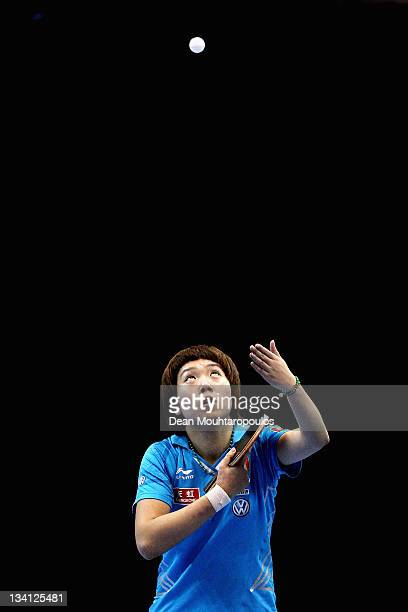 Xiaoxia Li of China in action against Ding Ning of China during the Womens Singles Semi Final match during day three of the ITTF Pro Tour Table...