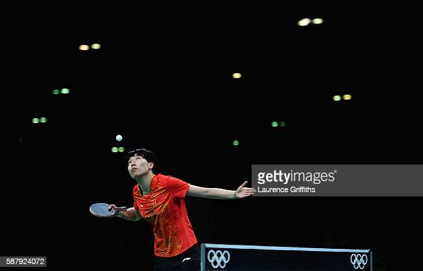 Xiaoxia Li of China in action during her Womens Table Tennis Singles Semi Final match against Ai Fukuhara of Japan at Rio Centro on August 10 2016 in...