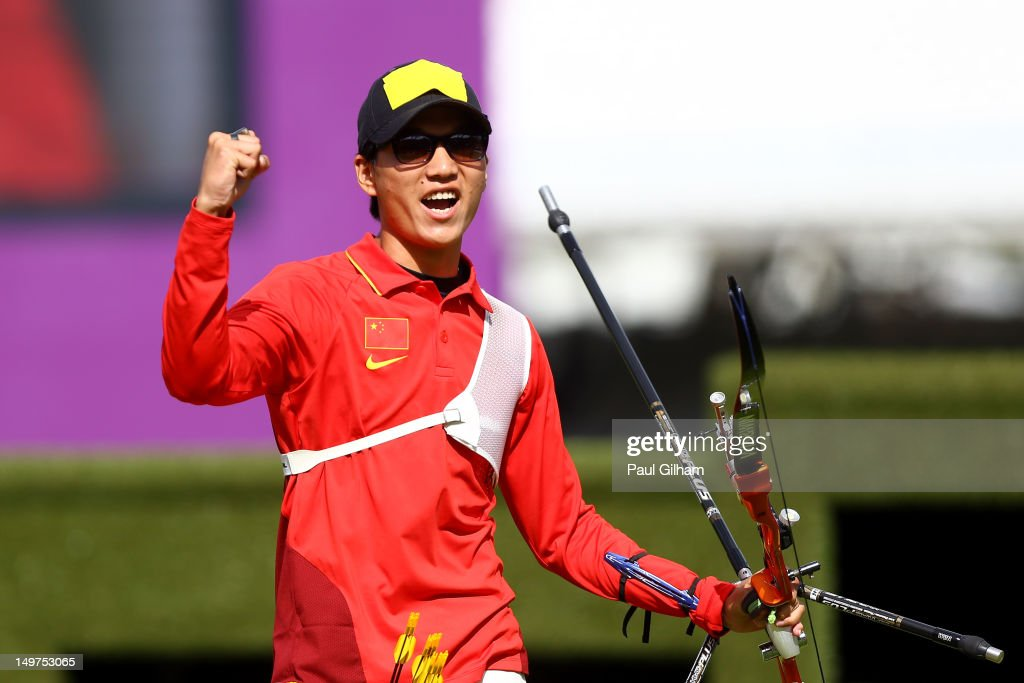 Xiaoxiang Dai of China celebrates winning the Men's Individual Archery Bronze Medal Match against Rick Van Der Ven of Netherlands on Day 7 of the London 2012 Olympic Games at Lord's Cricket Ground on August 3, 2012 in London, England.