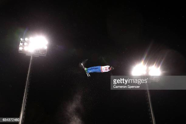 Xiaoxue Shen of China performs an aerial during Aerials training prior to the FIS Freestyle World Cup at Bokwang Snow Park on February 9 2017 in...