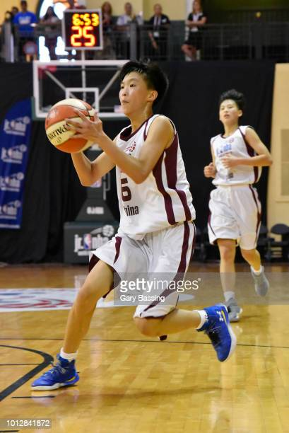 Xiaoyi Zhou of the China Girls handles the ball against the Africa and Middle East Girls during the Jr NBA World Championship on August 7 2018 at...