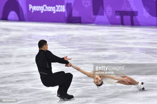 Xiaoyu Yu and Hao Zhang from China in action during the figure skating pairs short program of the 2018 Winter Olympics in the Gangneung Ice Arena in...