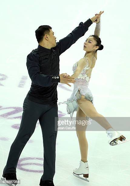 Xiaoyu Yu and Hao Zhang of China compete during Senior Pairs Free Skating on day two of the ISU Grand Prix of Figure Skating 2016 at Palais...