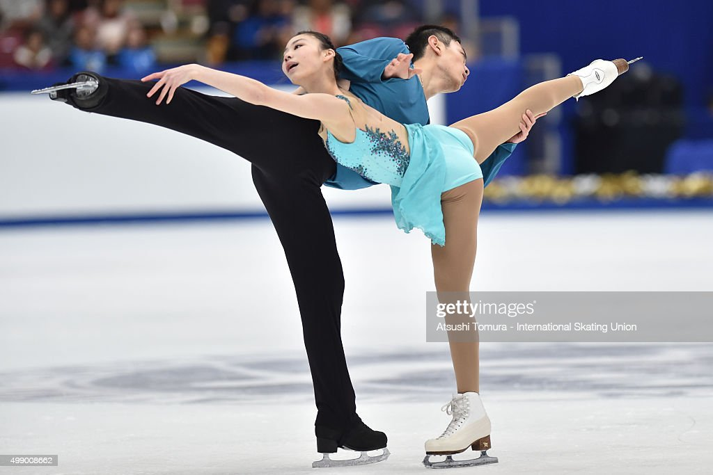 Xiaoyu Yu and Yang Jin of China compete in the pairs free skating during the day two of the NHK Trophy ISU Grand Prix of Figure Skating 2015 at the Big Hat on November 28, 2015 in Nagano, Japan.