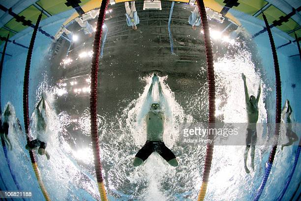 Xiayan Li of China competes in the Men's 50m Breaststroke final at the Aoti Aquatics Centre during day two of the 16th Asian Games Guangzhou 2010 on...