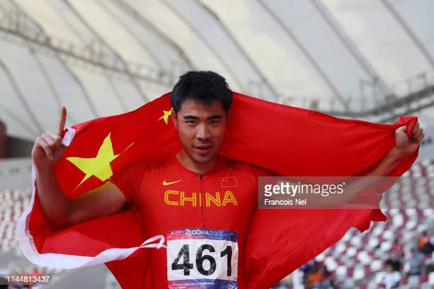 Xie Wenjun of China celebrates after winning the 110m Hurdles Men race during Day Four of the 23rd Asian Athletics Championships at Khalifa...