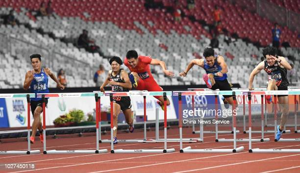 Xie Wenjun of China competes during Men's 110m Hurdles Final on day ten of the 2018 Asian Games on August 28 2018 in Jakarta Indonesia