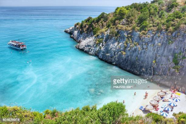 Xigia sulphur beach in summer. Elevated view, Zakynthos, Greece