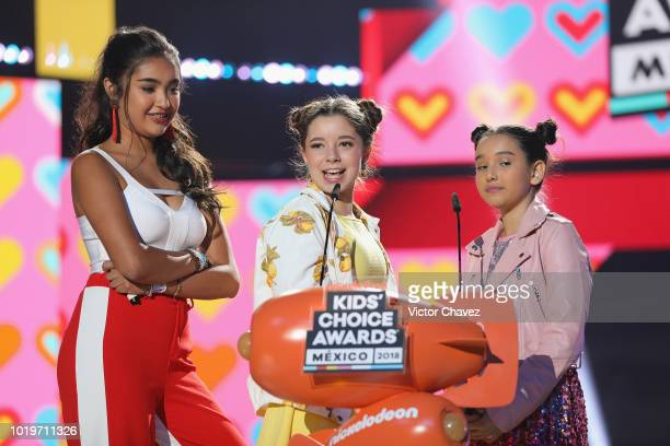 Xime Ponch La Bala and Gibby speak on stage during the Nickelodeon Kids' Choice Awards Mexico 2018 at Auditorio Nacional on August 19 2018 in Mexico...