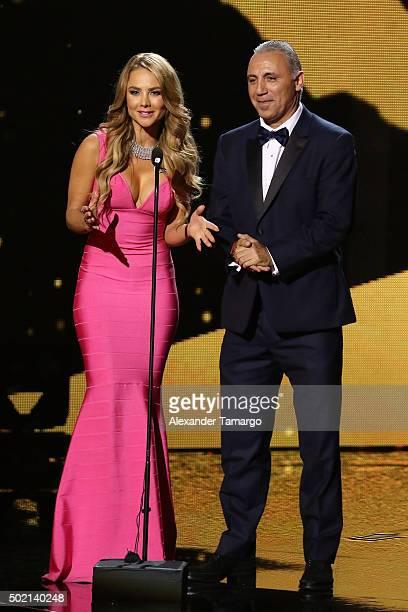 Ximena Cordoba and Hristo Stoichkov present onstage during Premios Univision Deportes 2015 at Univision Studios on December 20 2015 in Miami Florida