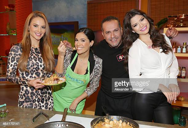 Ximena Cordoba Karla Martinez Chef Tony and Ana Patricia Gonzalez are seen on the set of Univision's Despierta America at Univision Headquarters on...