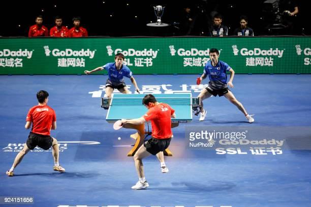 Xin, MA Long of China and NIWA Koki, UEDA Jin of Japan during ITTF Team World Cup match between XU Xin, MA Long of China and NIWA Koki, UEDA Jin of...
