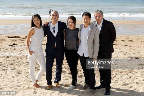 Xin Wang Frederic Siuen Audrey Bastien Francois Yang and guest attend 'L'ame du tigre' photocall during 3rd day of the 31st Cabourg Film Festival on...