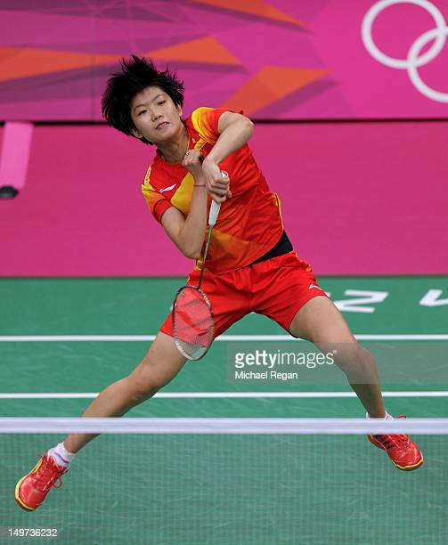 Xin Wang of China competes against compatriot Xuerui Li of China in the Women's Singles Badminton SemiFinal on Day 7 of the London 2012 Olympic Games...