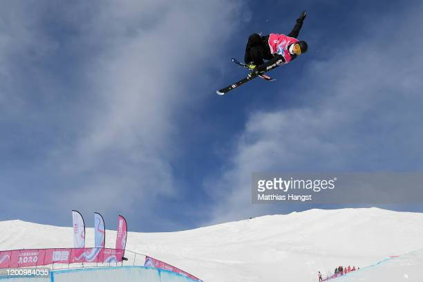 Xin Wang of China competes in his qualification run in Men's Freeski Halfpipe in Freestyle Skiing during day 13 of the Lausanne 2020 Winter Youth...