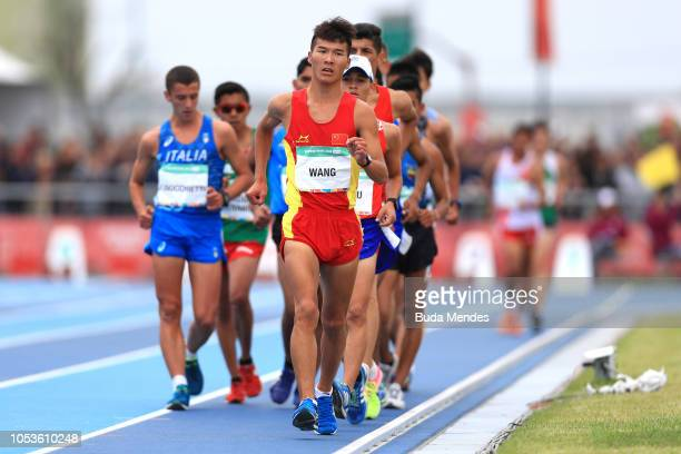 Xin Wang of China leads the peloton in Men's 5000m Race Walk Stage 1during day 5 of Buenos Aires 2018 Youth Olympic Games at Youth Olympic Park Villa...