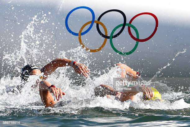 Xin Xin of China competes in the Women's 10km Marathon Swimming on day 10 of the Rio 2016 Olympic Games at Fort Copacabana on August 15 2016 in Rio...