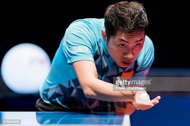 Xin Xu of China in action during his Men's Singles Semi Final match against Zhendong Fan of China during the Seamaster Qatar 2016 ITTF World Tour...