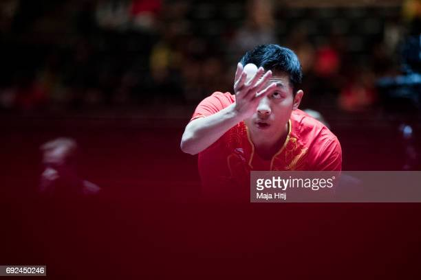 Xin Xu of China in action during Men's Singles half final at Table Tennis World Championship at Messe Duesseldorf on June 5 2017 in Dusseldorf Germany