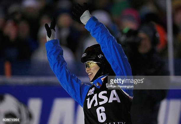 Xin Zhang of China celebrates after a first place jump in the ladies' final round in the FIS Freestyle Skiing Aerial World Cup at the Visa Freestyle...