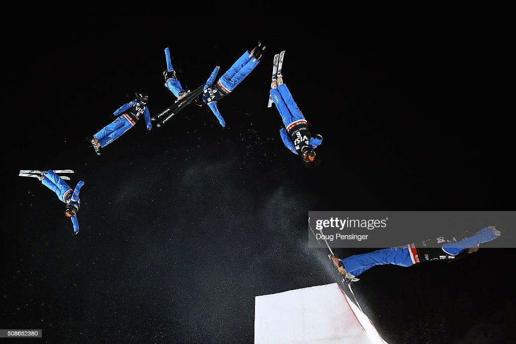 Xin Zhang of China jumps to first place in the ladies' FIS Freestyle Skiing Aerials World Cup at Deer Valley on February 5, 2016 in Park City, Utah.