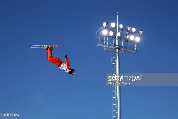 Xindi Wang of China performs an aerial during qualification in the FIS Freestyle Ski World Cup 2016/17 Mens Aerials at Bokwang Snow Park on February...