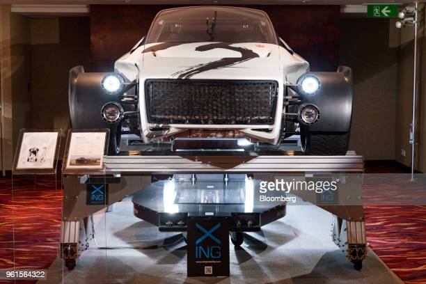 Xing Mobility Inc's Miss R electric supercar stands on display in Hong Kong China on Wednesday May 23 2018 Xing Mobility Chief Executive Officer...
