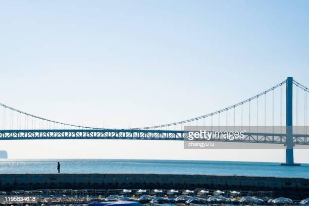 xinghai bay bridge road - つり橋 ストックフォトと画像