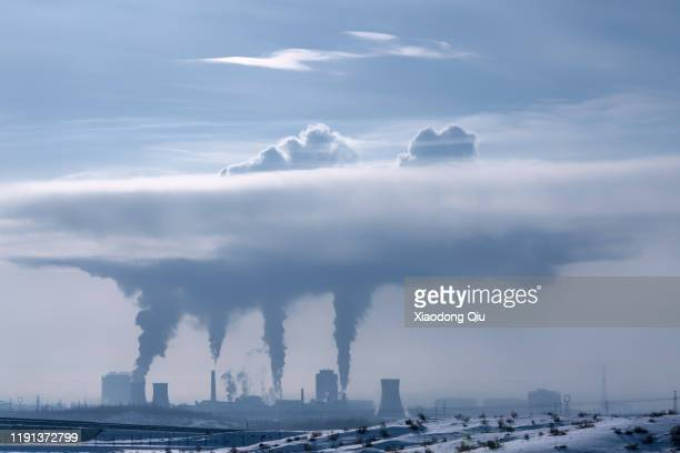 xinjiang refinery at midday - smog stock pictures, royalty-free photos & images