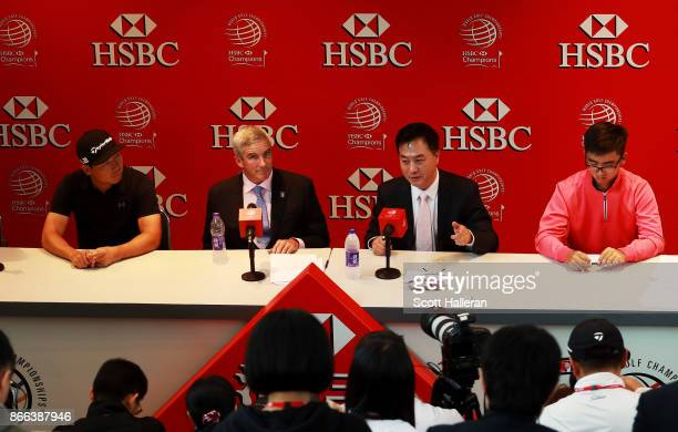 Xinjun Zhang of China PGA TOUR Commissioner Jay Monahan China Golf Association President Zhang Xiaoning and Zecheng Douof China attend the PGA TOUR...