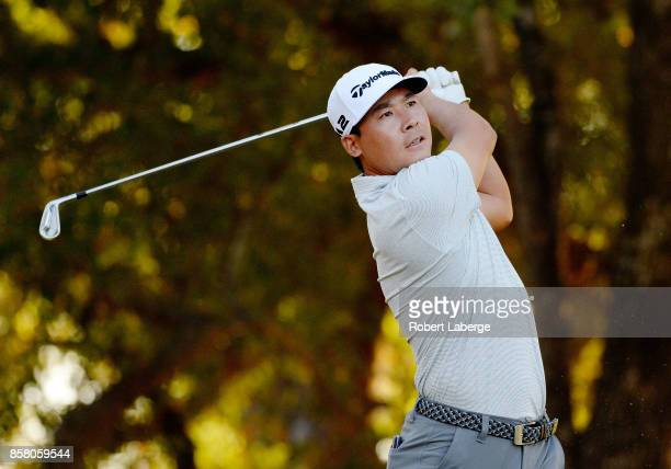Xinjun Zhang of China plays his shot from the 15th tee during the first round of the Safeway Open at the North Course of the Silverado Resort and Spa...