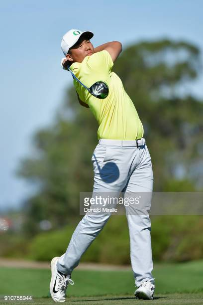 Xinjun Zhang of China plays his shot from the 18th tee during the second round of the Farmers Insurance Open at Torrey Pines North on January 26 2018...