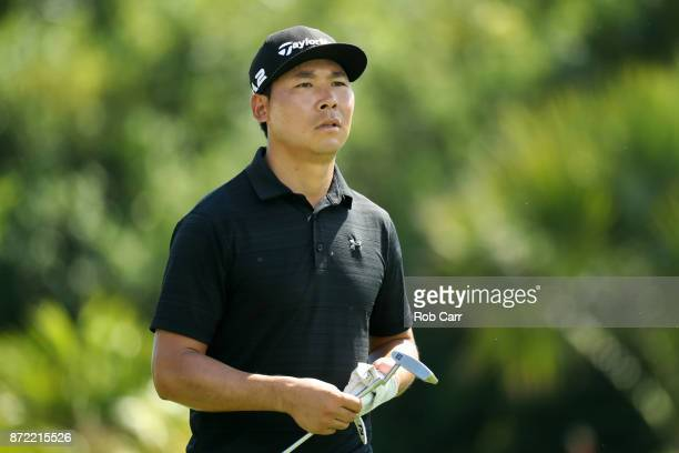 Xinjun Zhang of China walks on the 17th hole during the first round of the OHL Classic at Mayakoba on November 9 2017 in Playa del Carmen Mexico