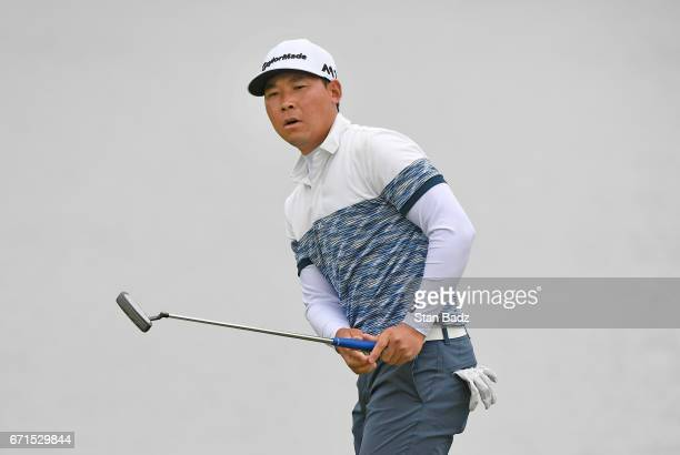Xinjun Zhang reacts to his putt on the 18th hole during the second round of the Webcom Tour United Leasing Finance Championship at Victoria National...
