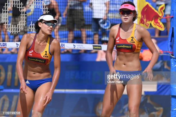Xinxin Wang and Chen Xue of China looks dejected during day three between the match Alix Klineman and April Rose of United States of America and...
