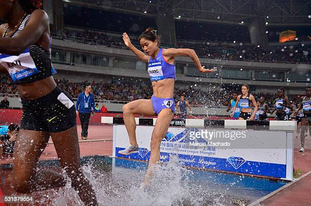 Xinyan Zhang of China runs in the Women��s 3000 Metres Steeple during the 2016 IAAF Diamond League meeting at Shanghai Stadium on May 14 2016 in...