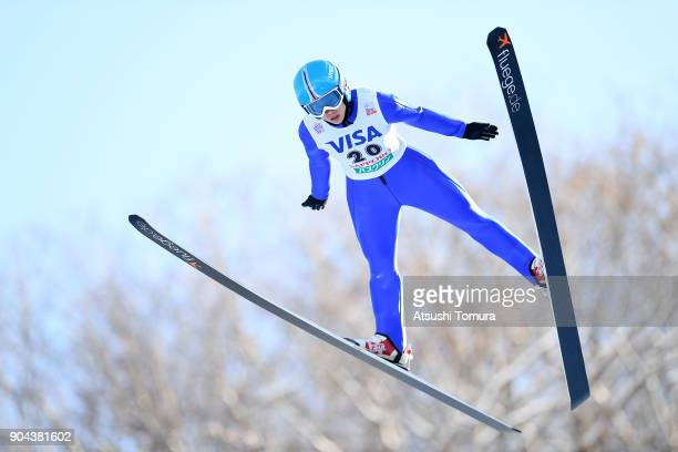 Xinyue Chang of China competes in the Ladies normal hill individual during day one of the FIS Ski Jumping Women's World cup at Miyanomori Ski Jump...