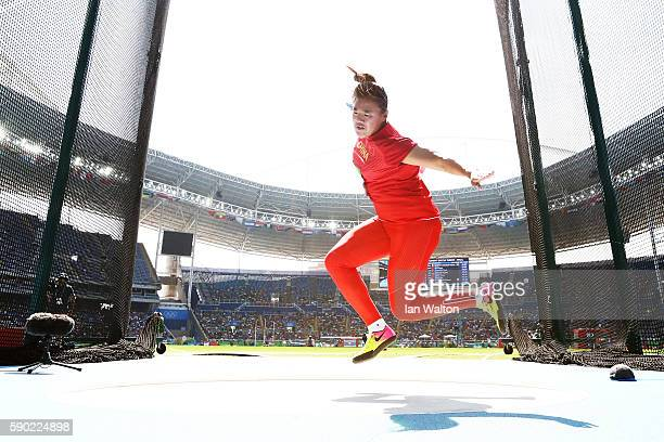 Xinyue Su of China competes during the Women's Discus Throw Final on Day 11 of the Rio 2016 Olympic Games at the Olympic Stadium on August 16 2016 in...
