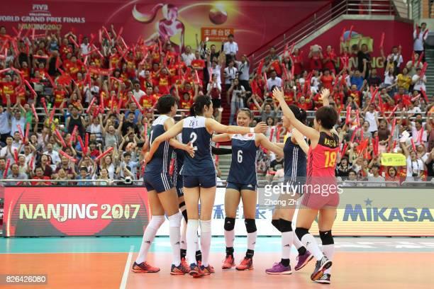 Xinyue Yuan #2 Ting Zhu #6 Xiangyu Gong #10 Xiaotong Liu #16 Xia Ding and Mengjie Wang of China celebrate a point the match between China and the...