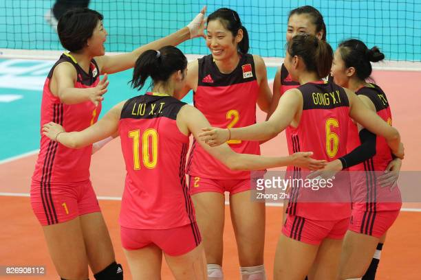 Xinyue Yuan #2 Ting Zhu and team mates of China celebrate a point during the match between China and Serbia during 2017 Nanjing FIVB World Grand Prix...